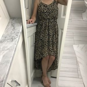 NWT high-low leopard lined dress